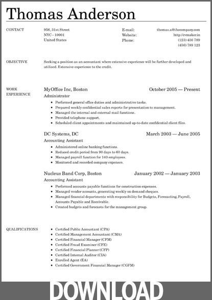 44 Beautiful Free Microsoft Office Resume Templates by Images