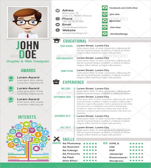 44 Excellent One Page Curriculum Vitae by Graphics