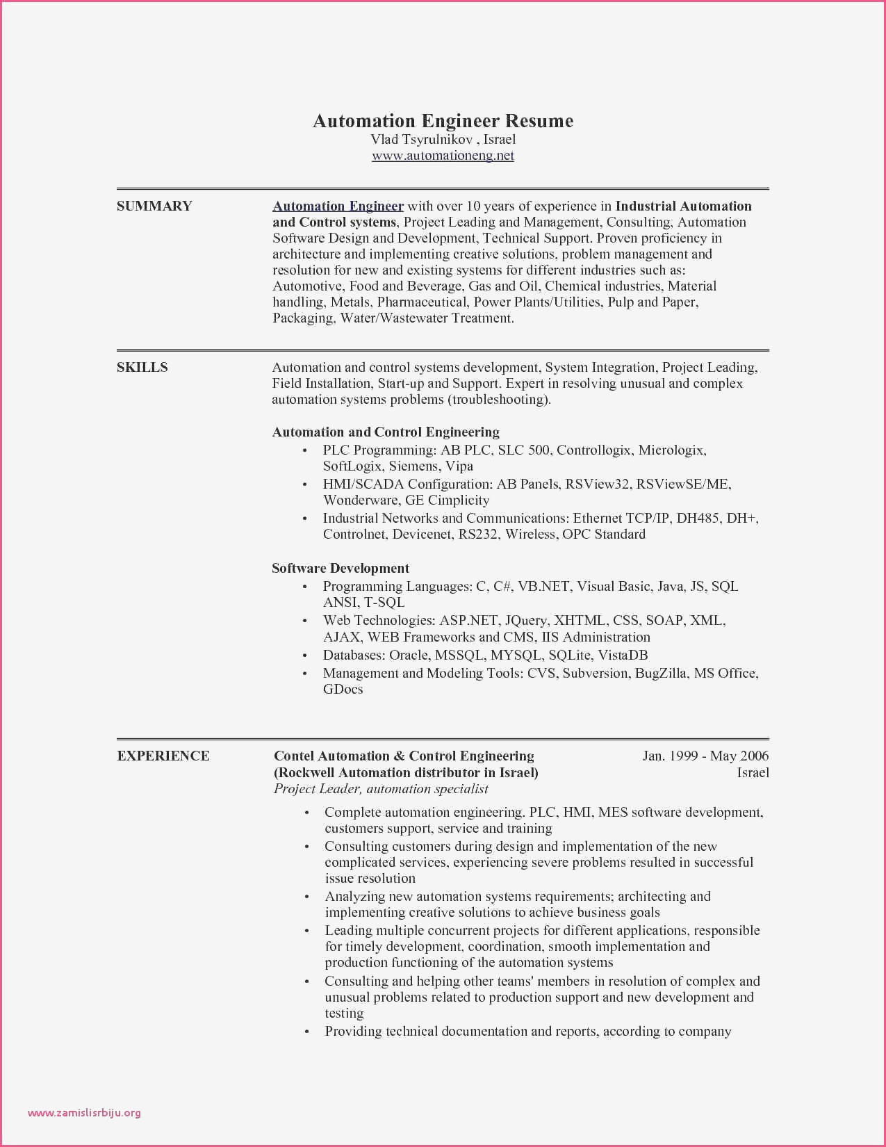 44 New Automation Engineer Resume with Graphics