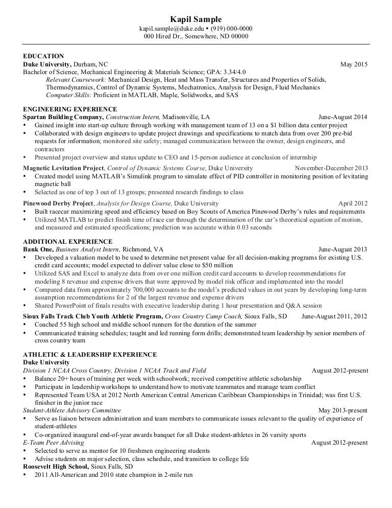 44 Top Mechanical Engineer Resume Sample for Pictures