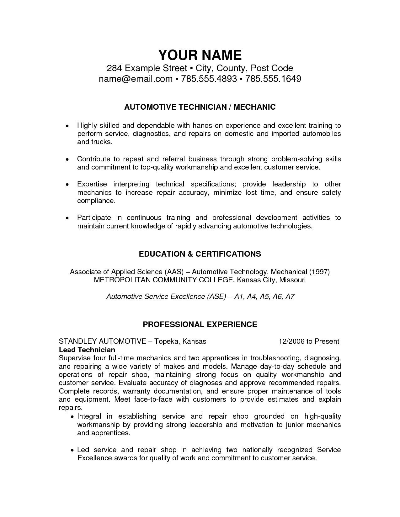 45 Beautiful Auto Mechanic Resume Objective Examples by Pics