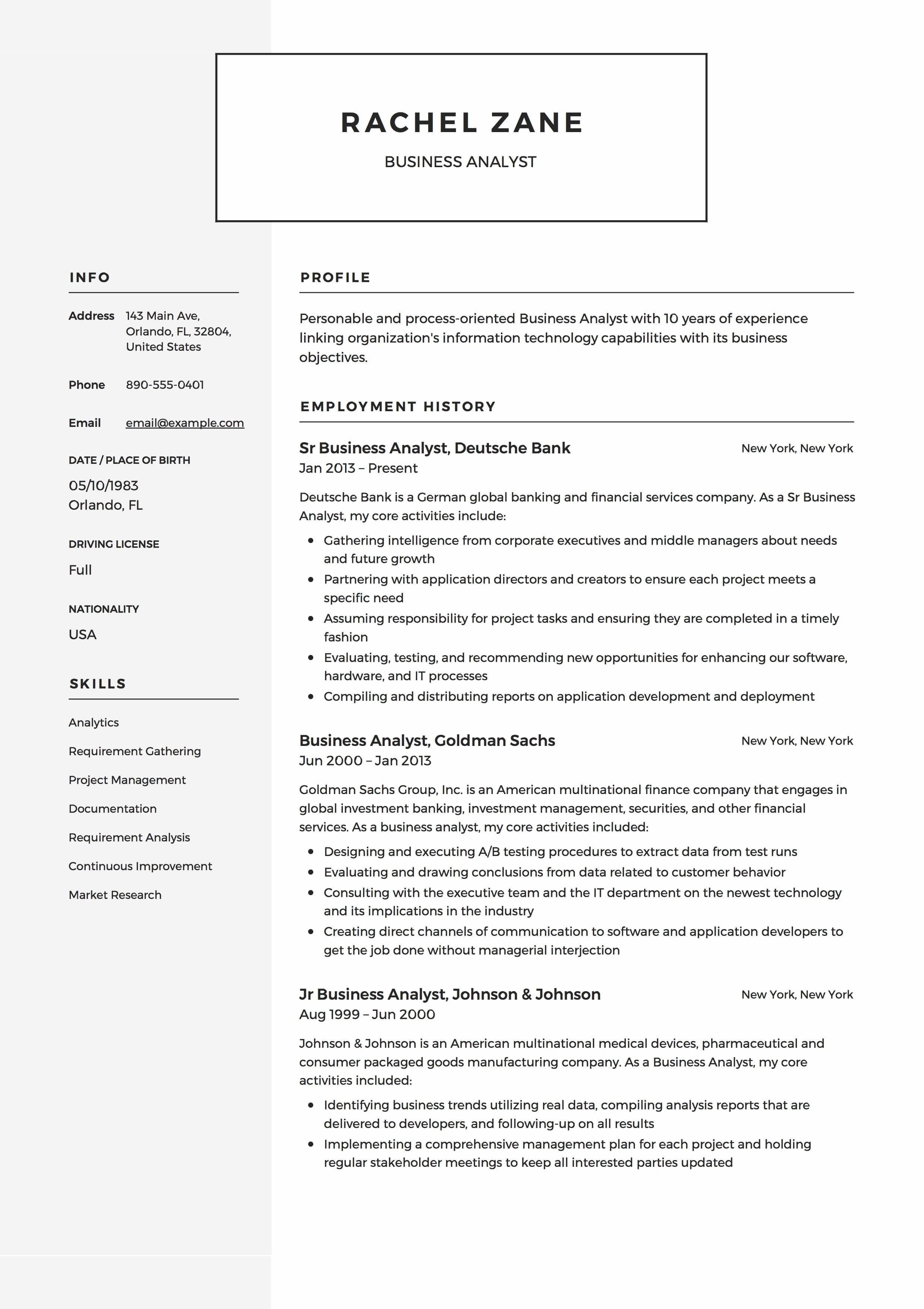 46 Inspirational Business Analyst Resume Examples 2018 by Pictures