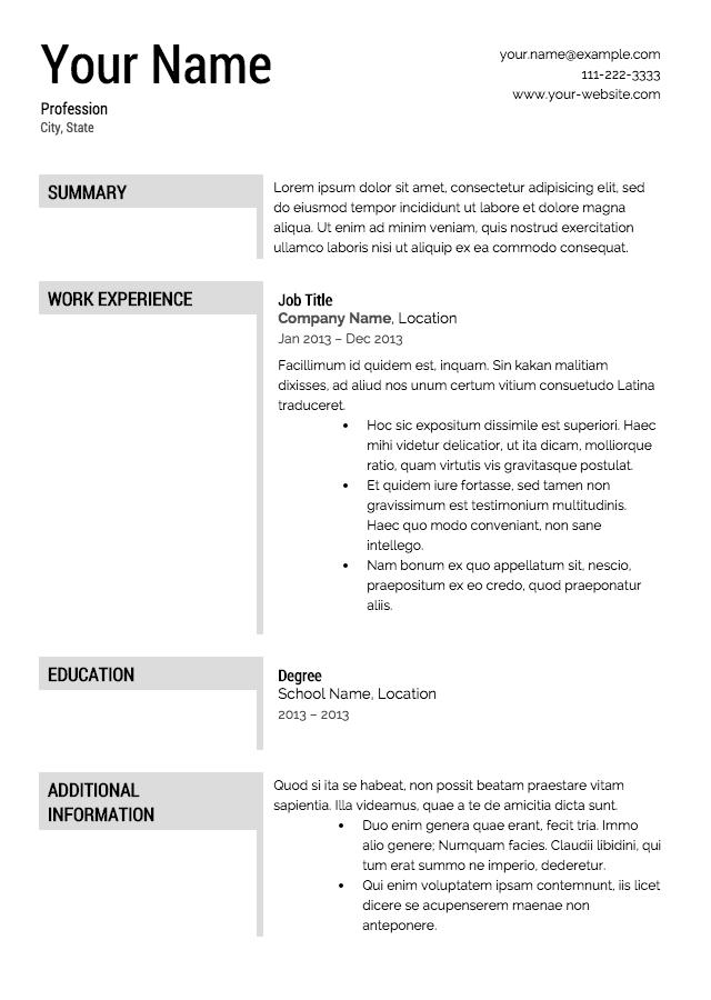 47 Awesome Good Resume Templates Free by Pictures