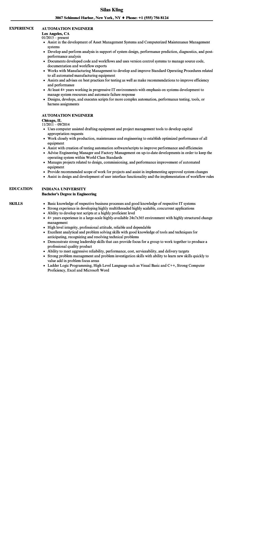 47 Cool Automation Engineer Resume with Images