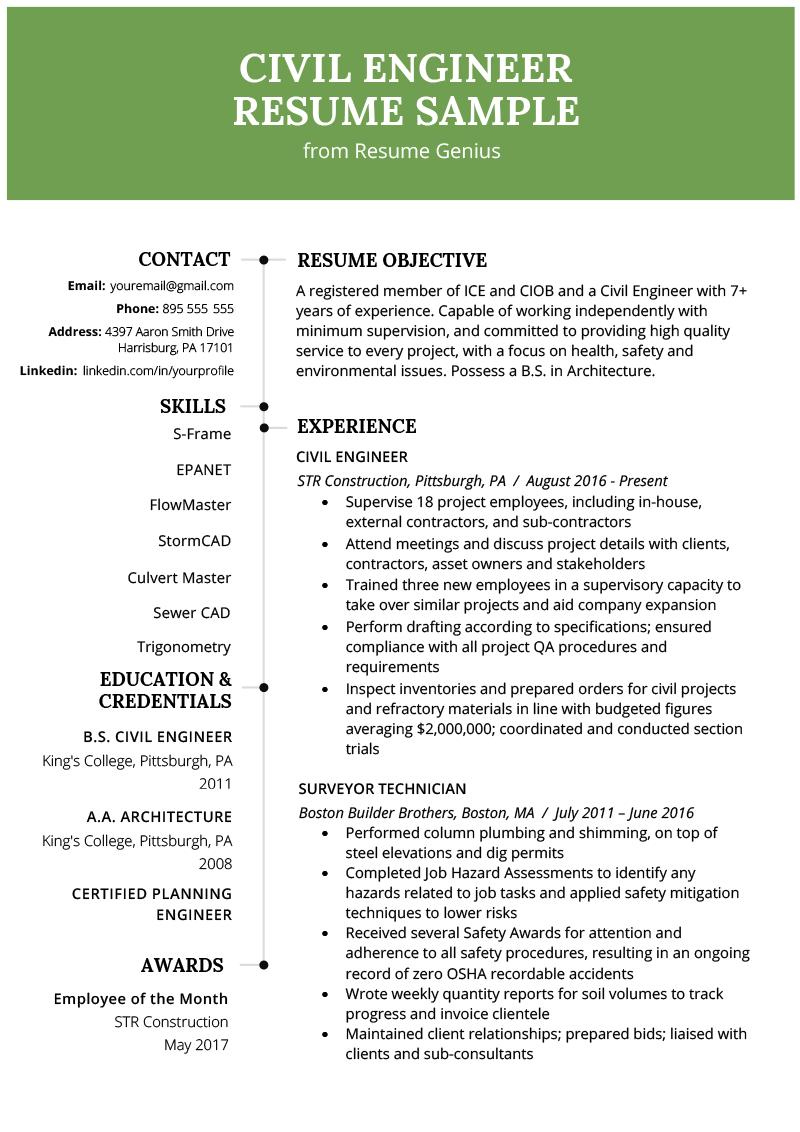 47 Cool Civil Engineering Resume Examples by Gallery