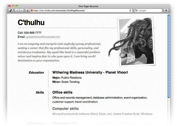 47 Lovely One Page Resume Site with Graphics