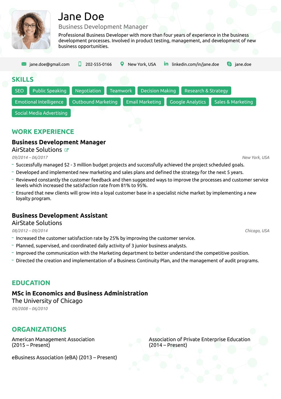 47 Nice Simple One Page Resume Template with Pictures
