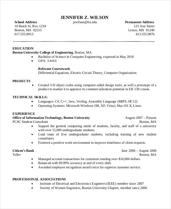 47 Stunning Sample Resume For Computer Science Engineering Students for Design