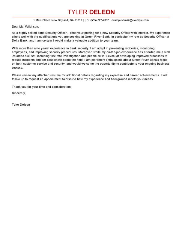 48 Great Security Cover Letter for Gallery