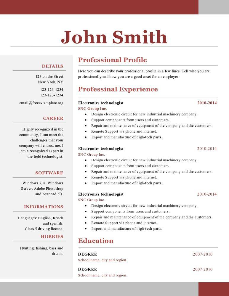 48 Top Free 1 Page Resume Template by Design