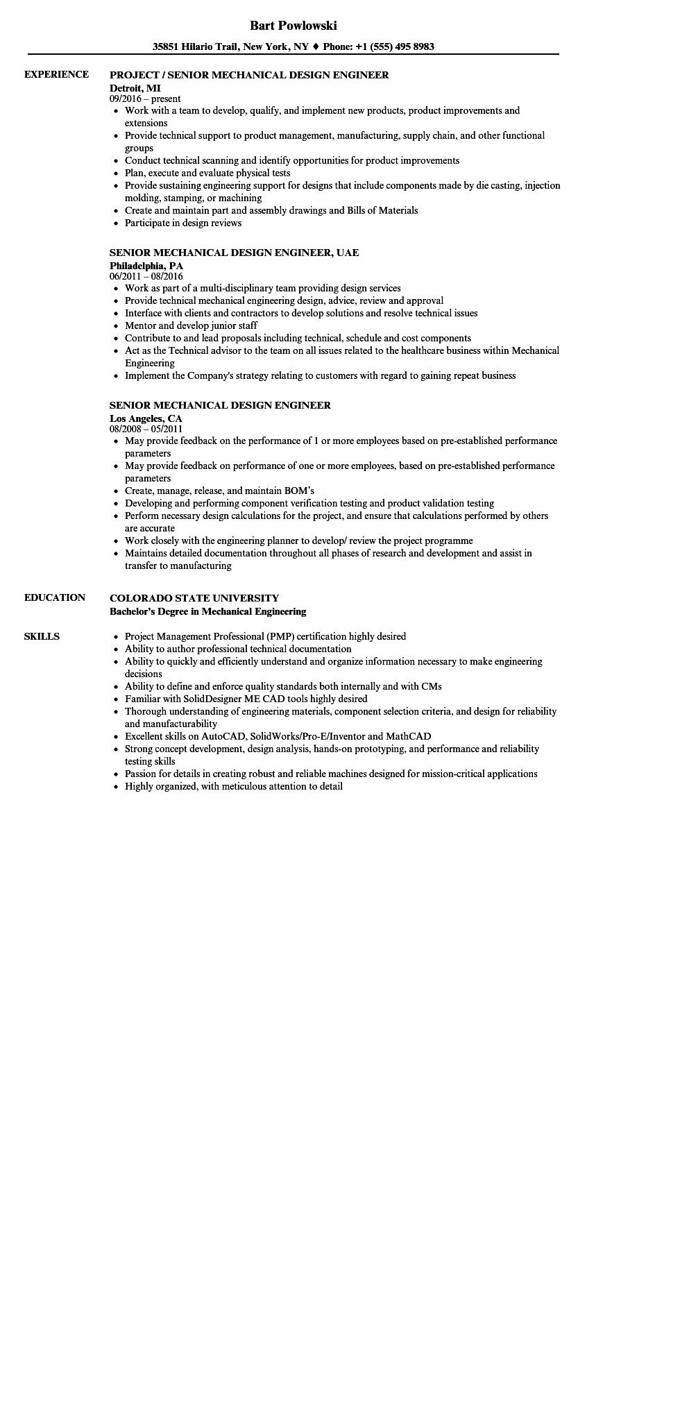 49 Excellent Mechanical Engineer Resume Sample for Gallery
