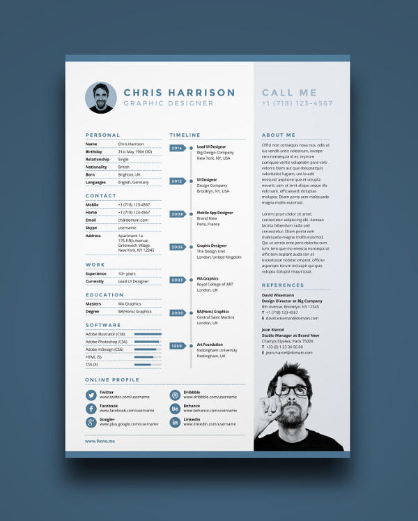 49 Fresh Free 1 Page Resume Template with Pics