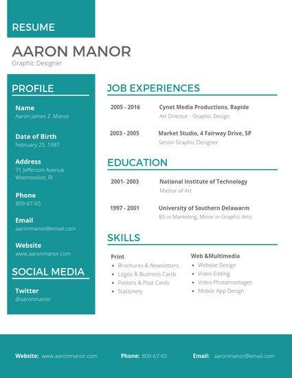 49 Fresh Graphic Resume Template by Images