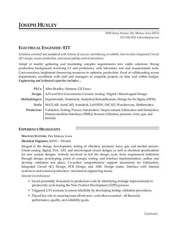 49 Nice Electrical Engineering Resume Sample For Freshers with Ideas