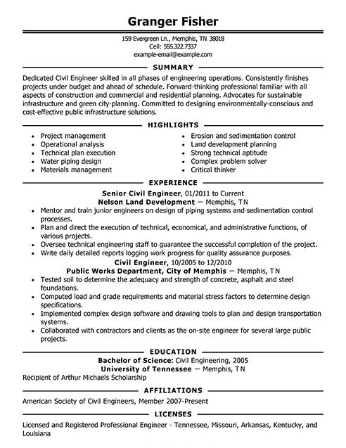 49 Stunning Civil Engineering Resume Examples for Ideas