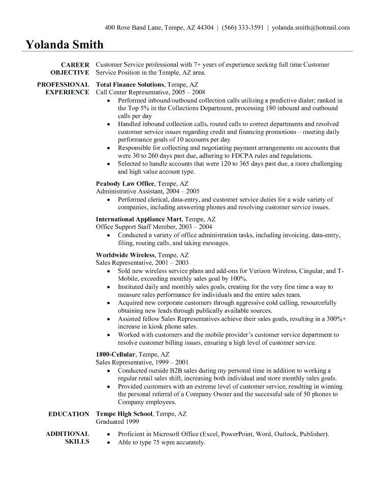 49 Top Customer Service Resume Objective Or Summary Examples by Pics