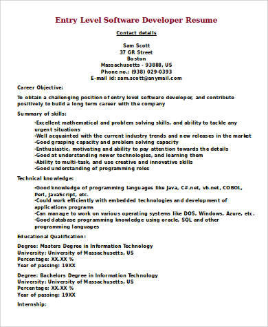 50 Great Entry Level Software Engineer Resume by Images