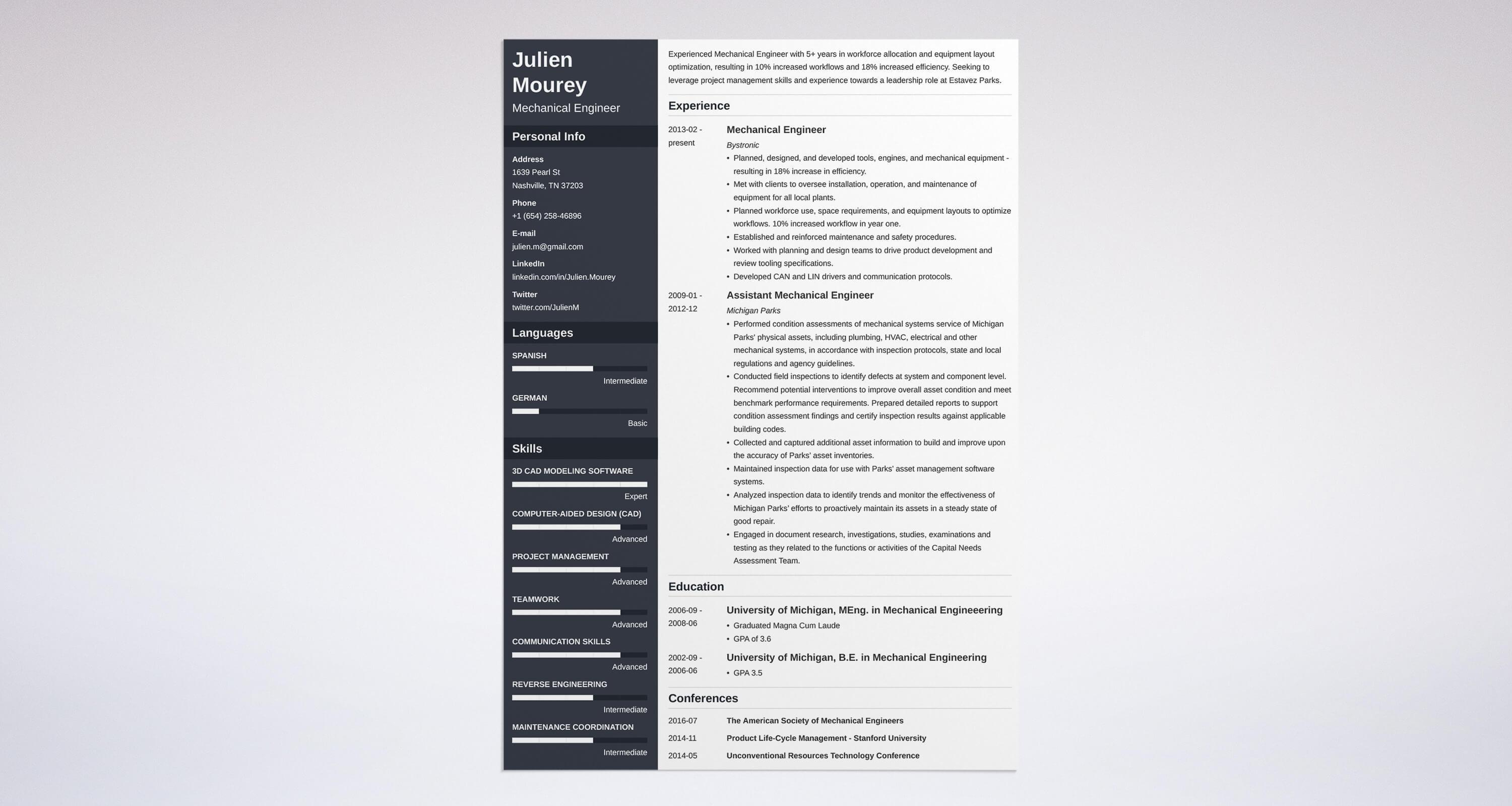 51 Best Mechanical Engineer Resume Sample by Gallery