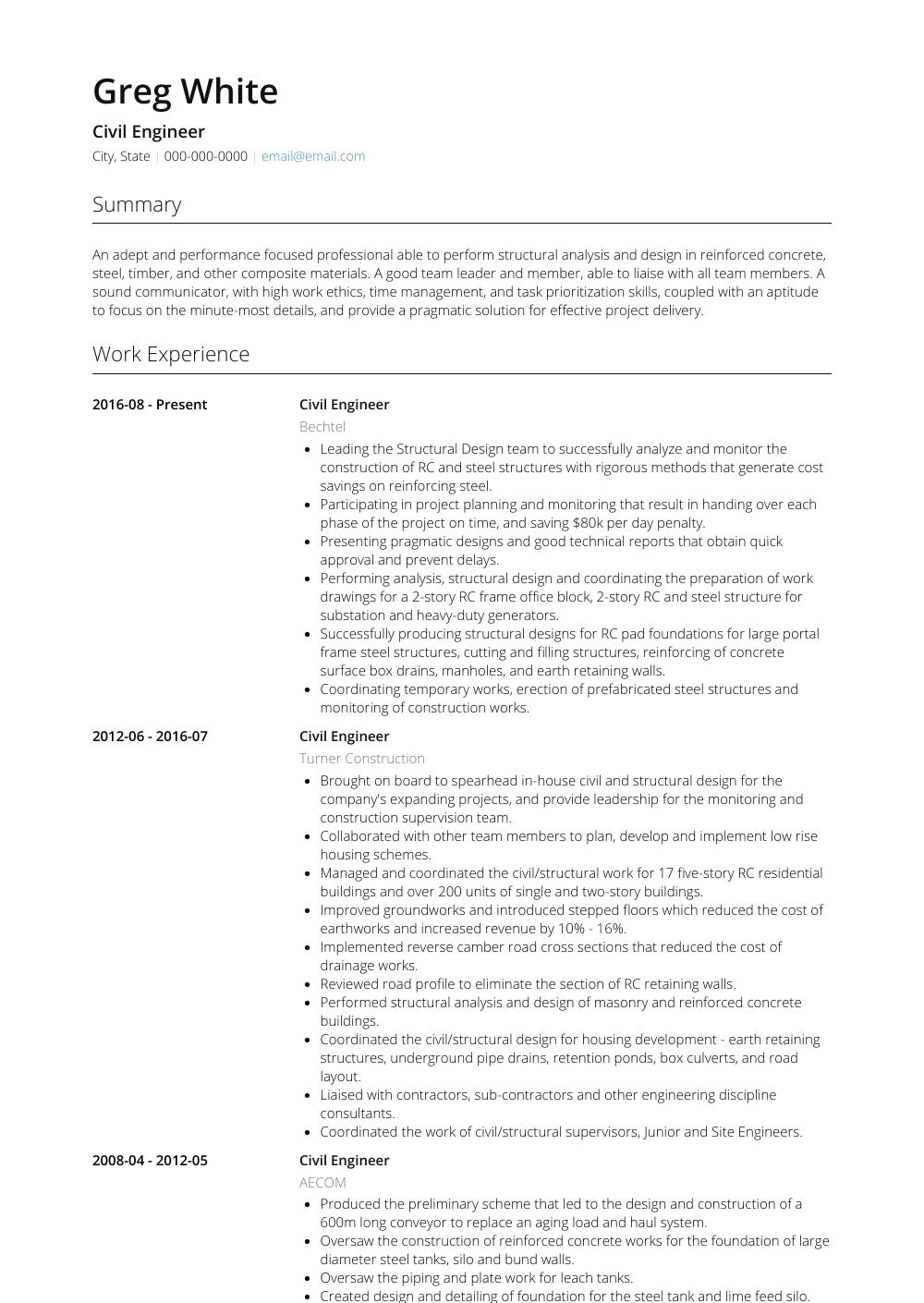 51 Excellent Civil Engineering Resume Examples with Pics