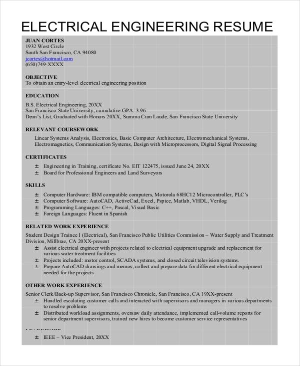 51 Stunning Electrical Engineering Resume Sample For Freshers with Graphics