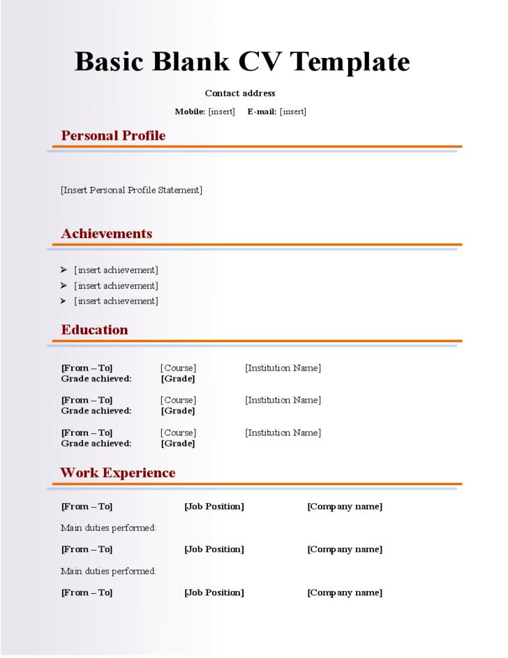 52 Cool Simple Resume Template Word for Images