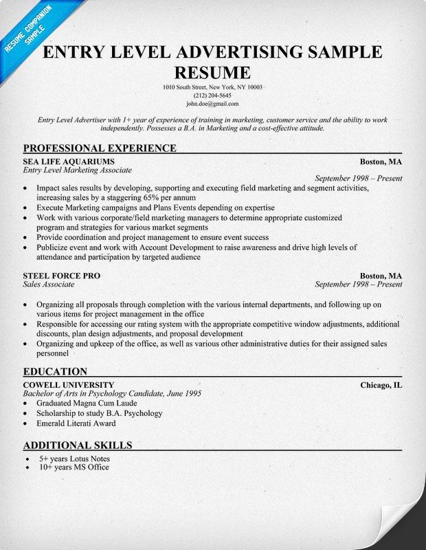 53 Lovely Entry Level Marketing Resume with Pics