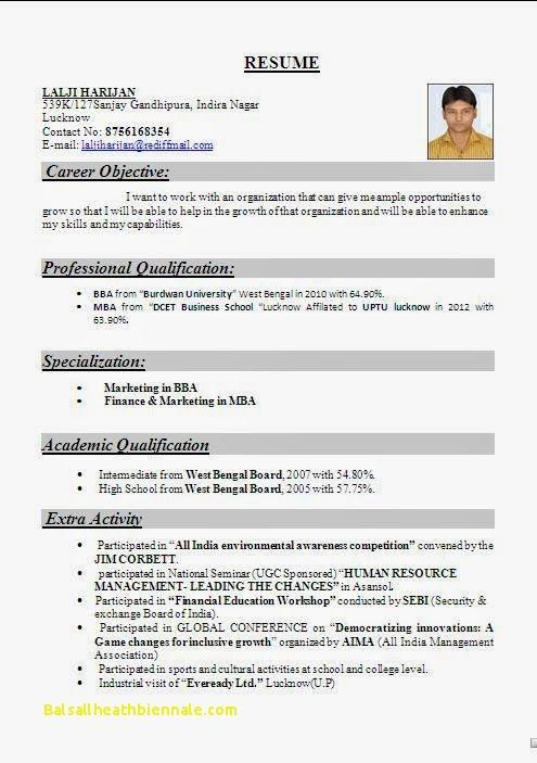 53 New Resume Format For Freshers with Gallery