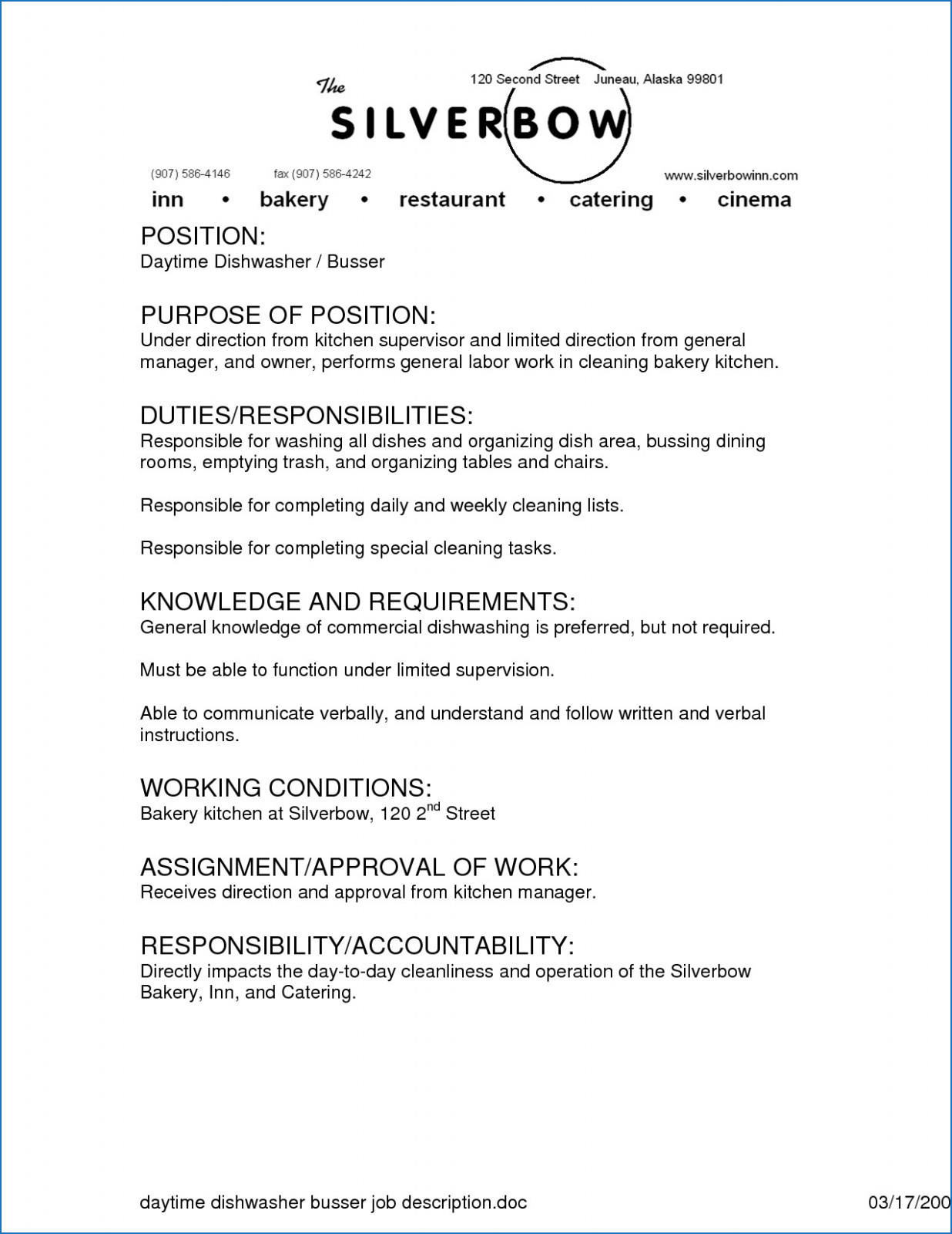 53 Top Busboy Resume by Gallery