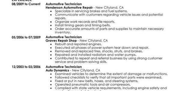 54 Excellent Auto Mechanic Resume Objective Examples with Pictures