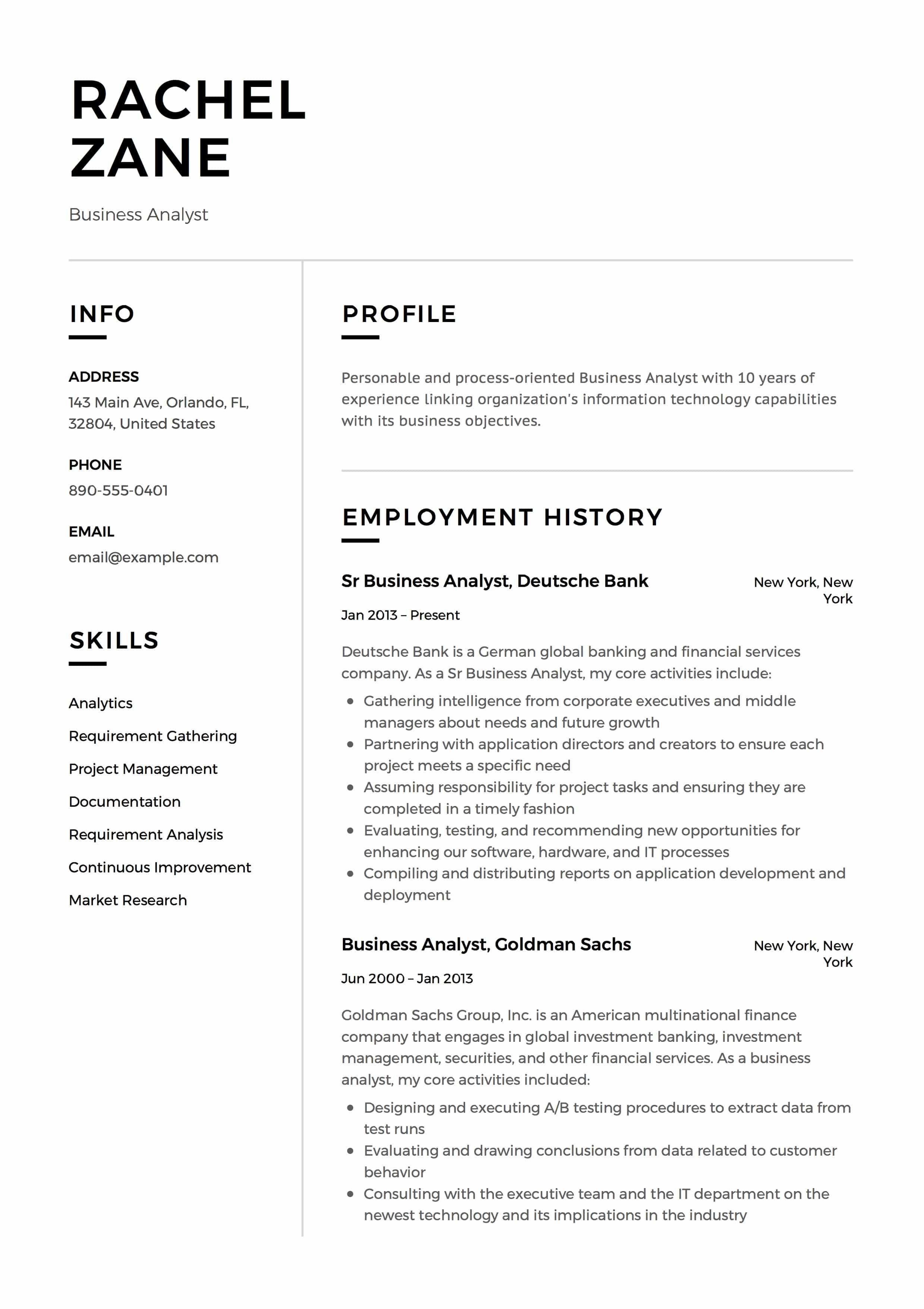 54 Great Business Analyst Resume Examples 2018 for Gallery