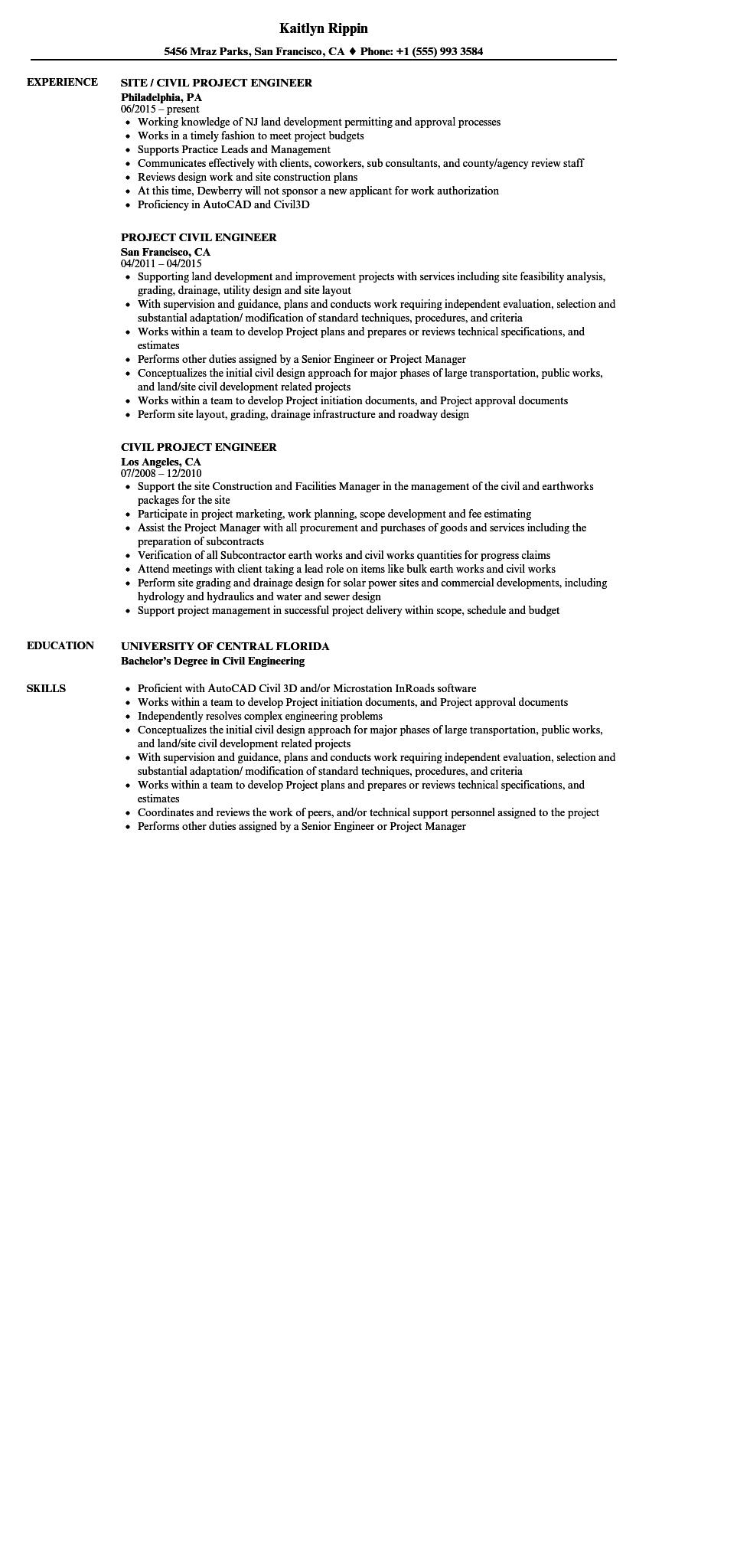 55 Top Civil Engineer Resume with Pictures