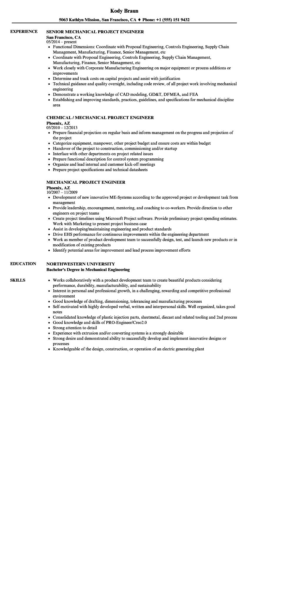 56 Best Mechanical Engineer Resume Sample with Design