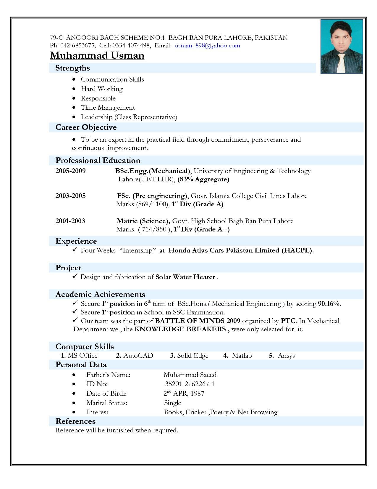 56 Cool Resume Format For Freshers for Ideas
