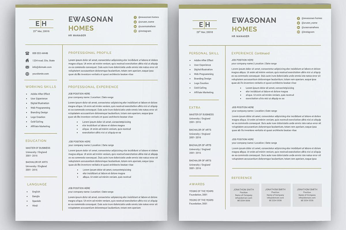 56 Great Pages Cv Template for Graphics