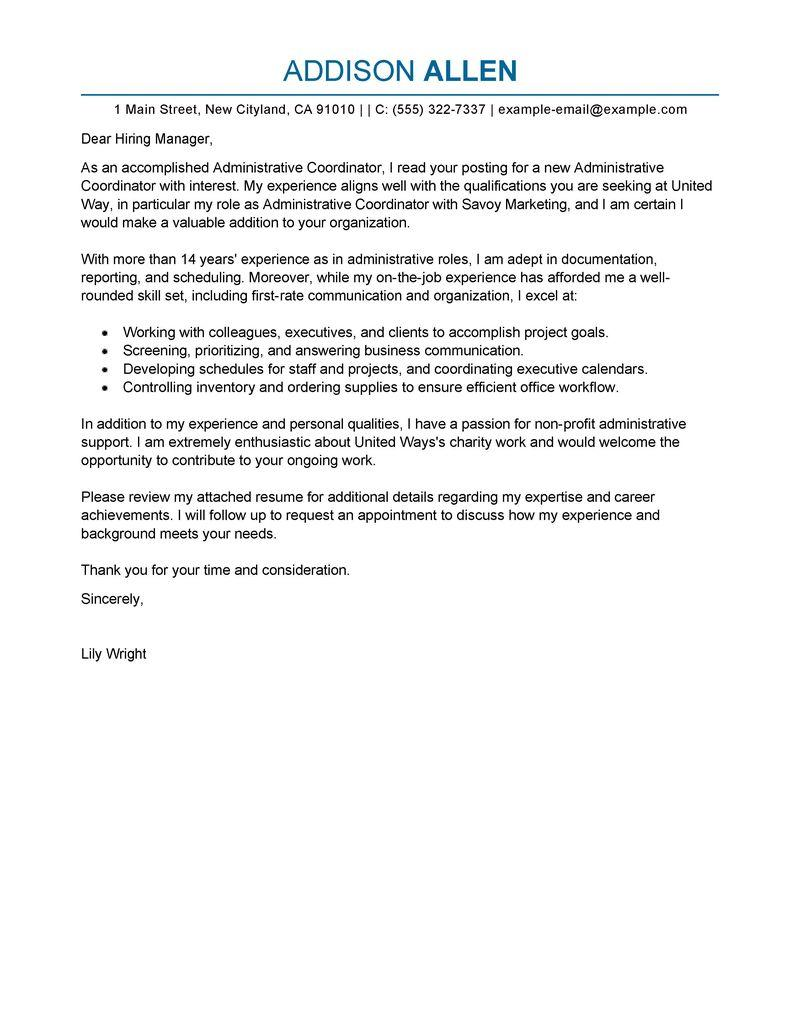 57 Lovely Administration Cover Letter Sample with Ideas