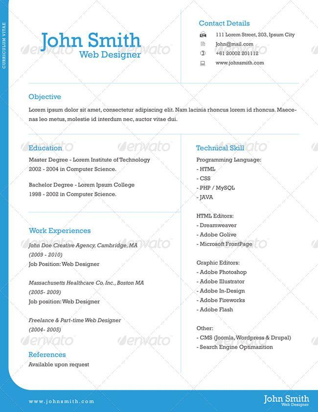 57 Lovely One Page Curriculum Vitae with Design