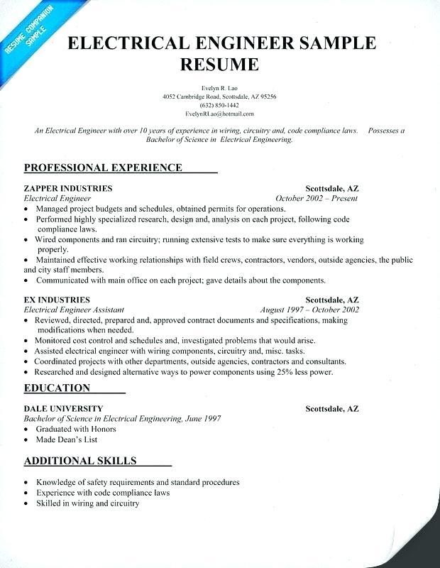 57 Top Electrical Engineering Resume Sample For Freshers with Graphics