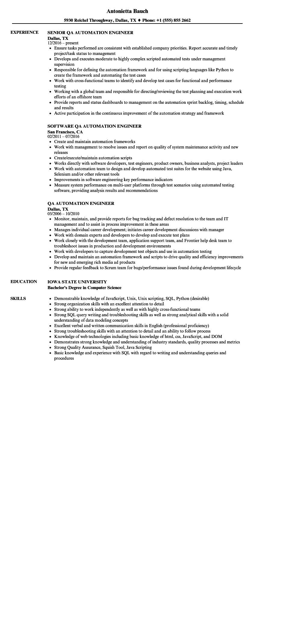 58 Top Automation Engineer Resume by Pictures