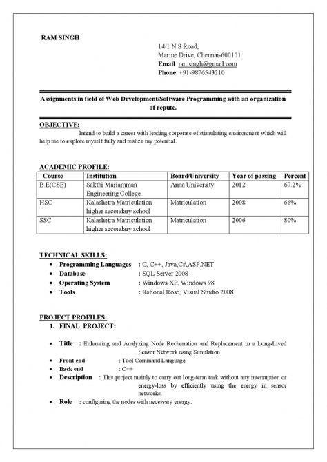 59 Lovely Sample Resume For Computer Science Engineering Students for Ideas