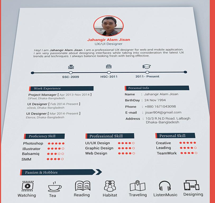59 New Great Looking Resume Templates with Graphics