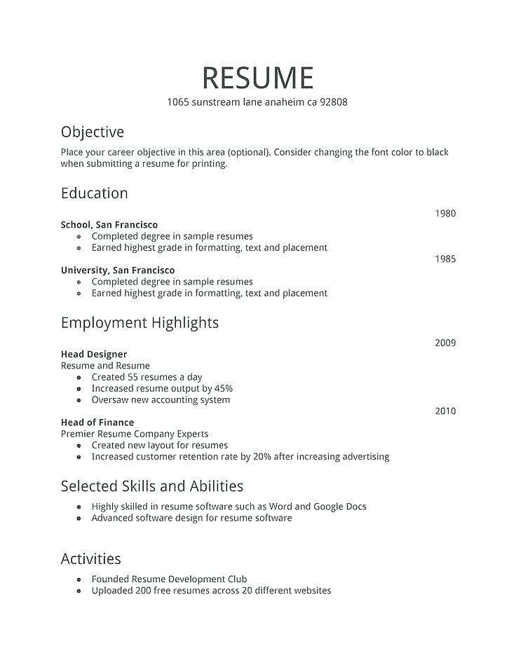 60 Great Format Of Resume For Job Pdf for Gallery