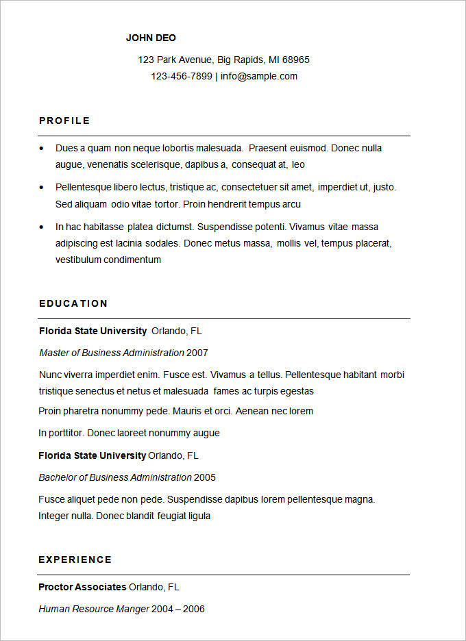 60 Nice Sample Resume Format for Pics