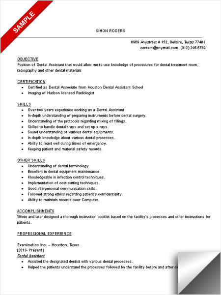 61 Fresh Dental Assistant Resume Skills Examples for Design