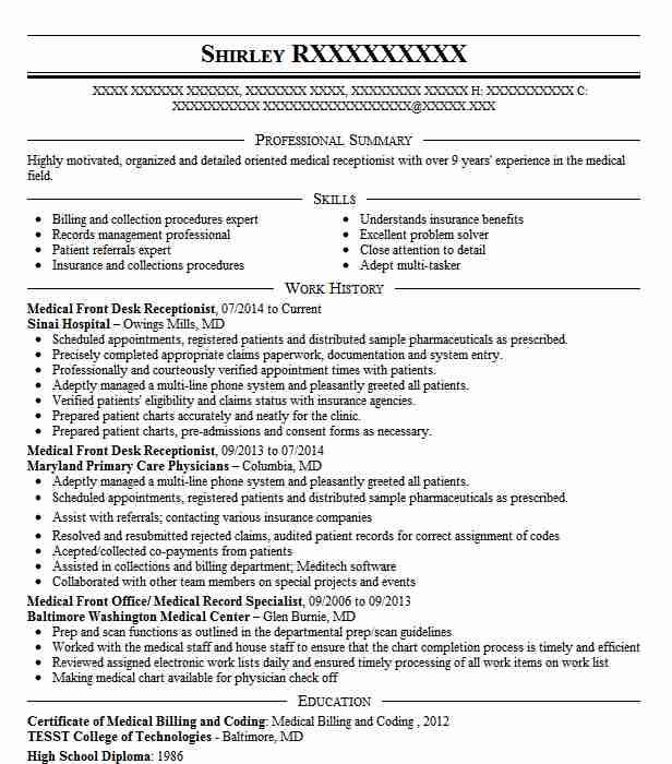 61 Great Medical Front Desk Resume by Gallery