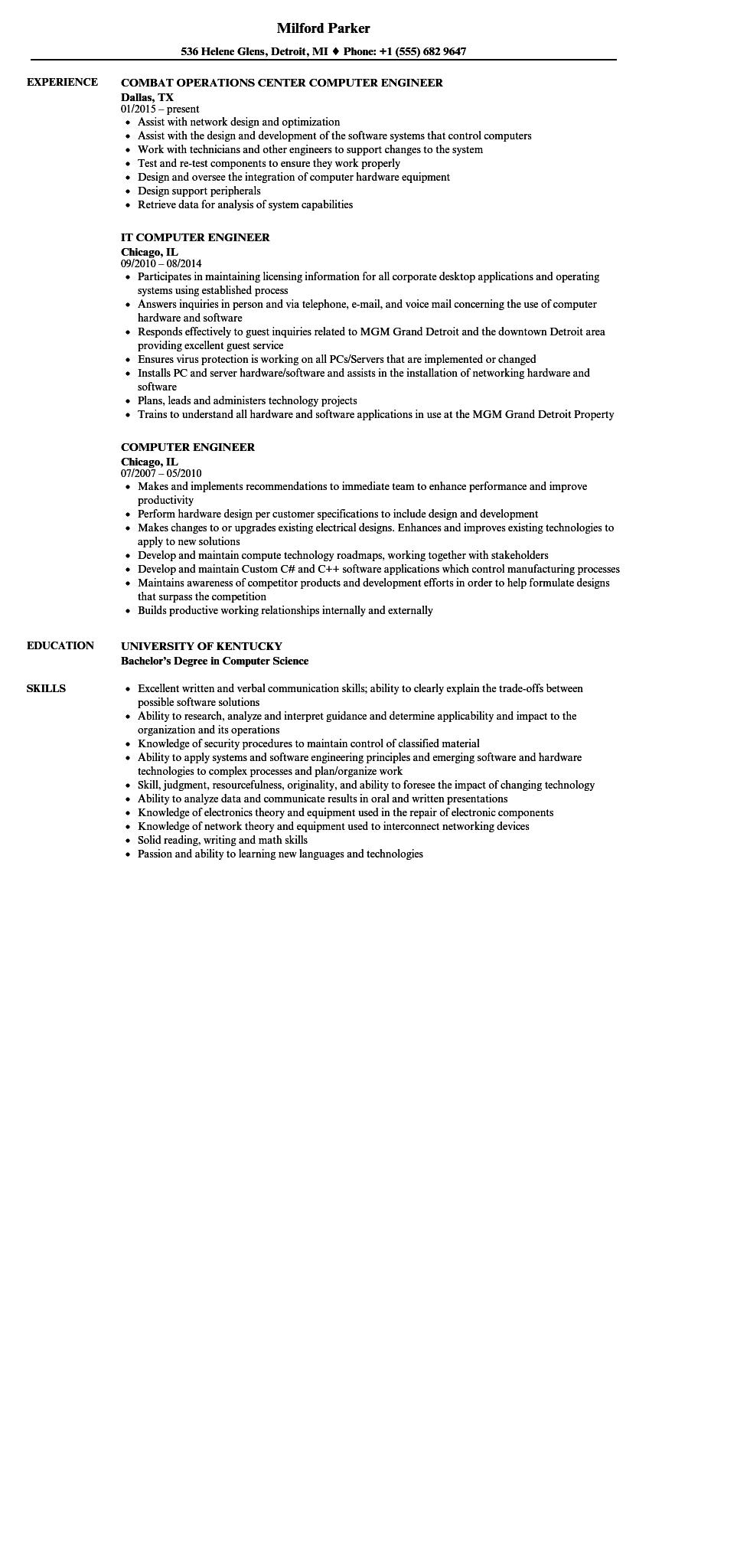 61 Stunning Computer Engineering Resume with Graphics
