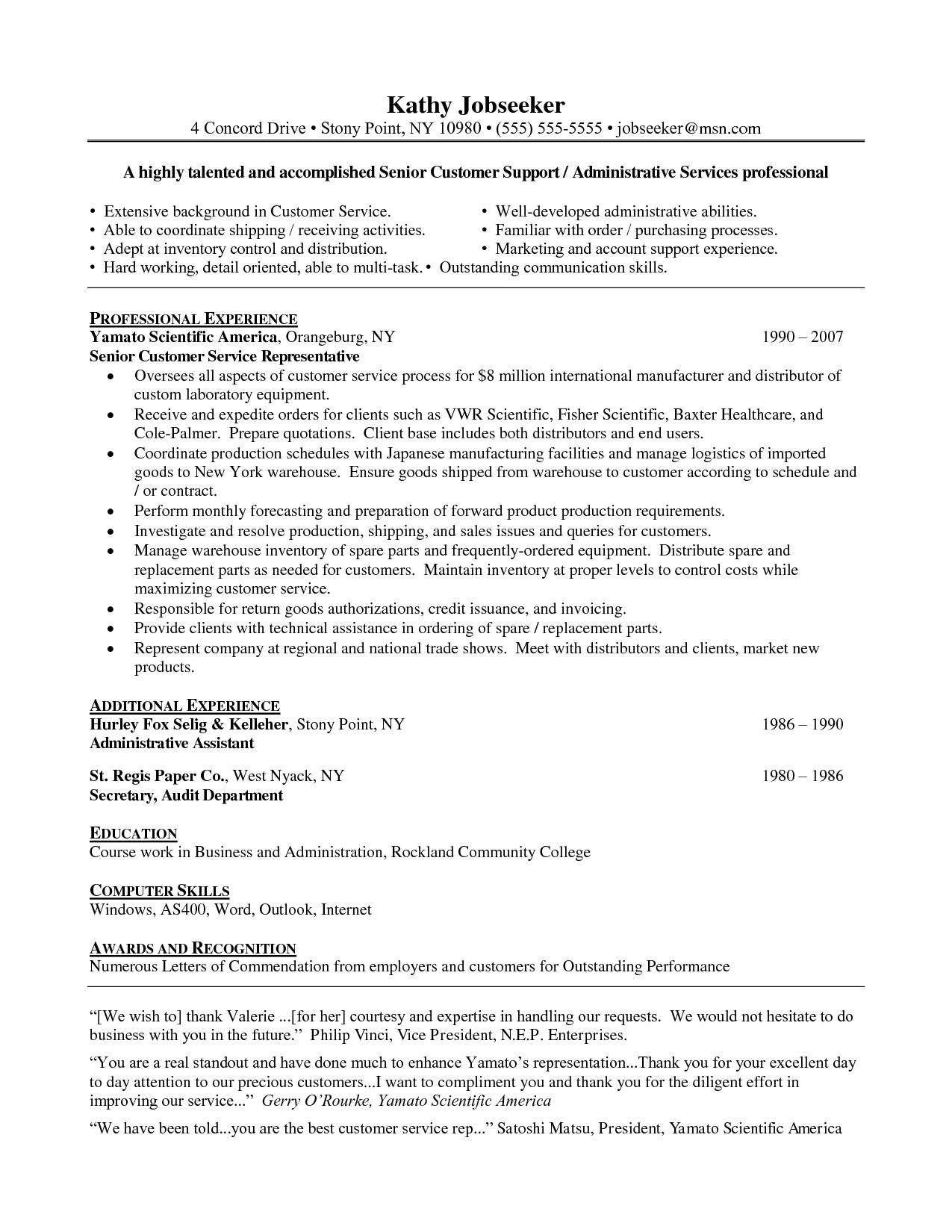 62 Great Customer Service Resume Objective Or Summary Examples for Pictures