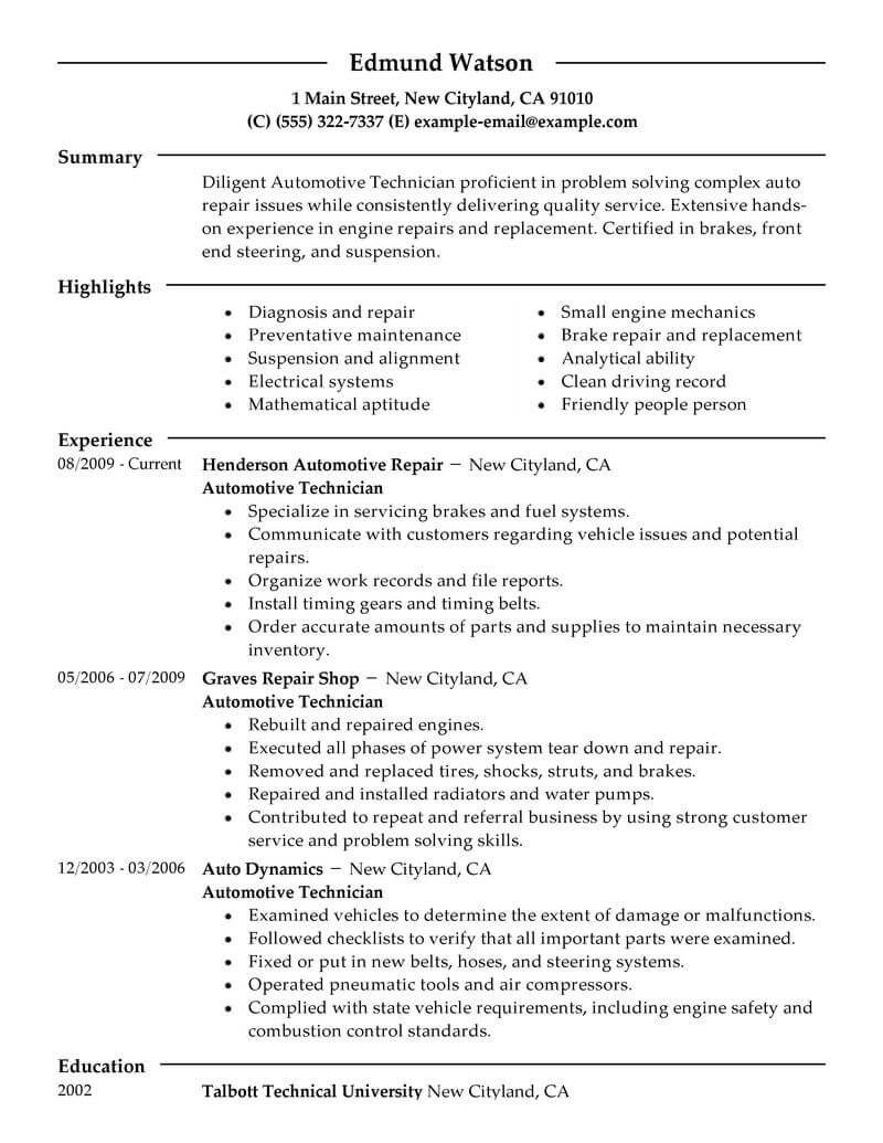 62 Stunning Auto Mechanic Resume Objective Examples for Ideas