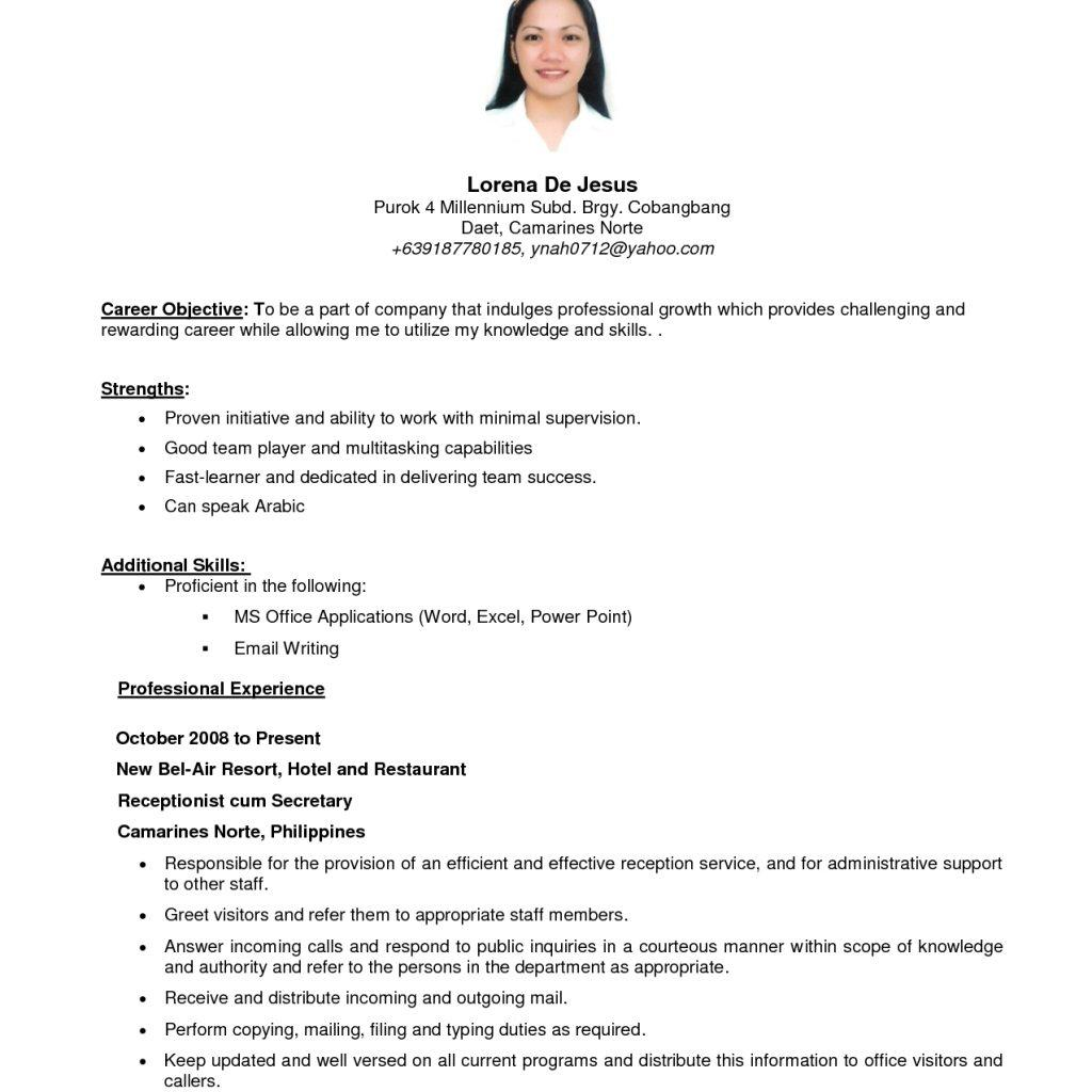 63 Beautiful Sample Resume Format for Pics