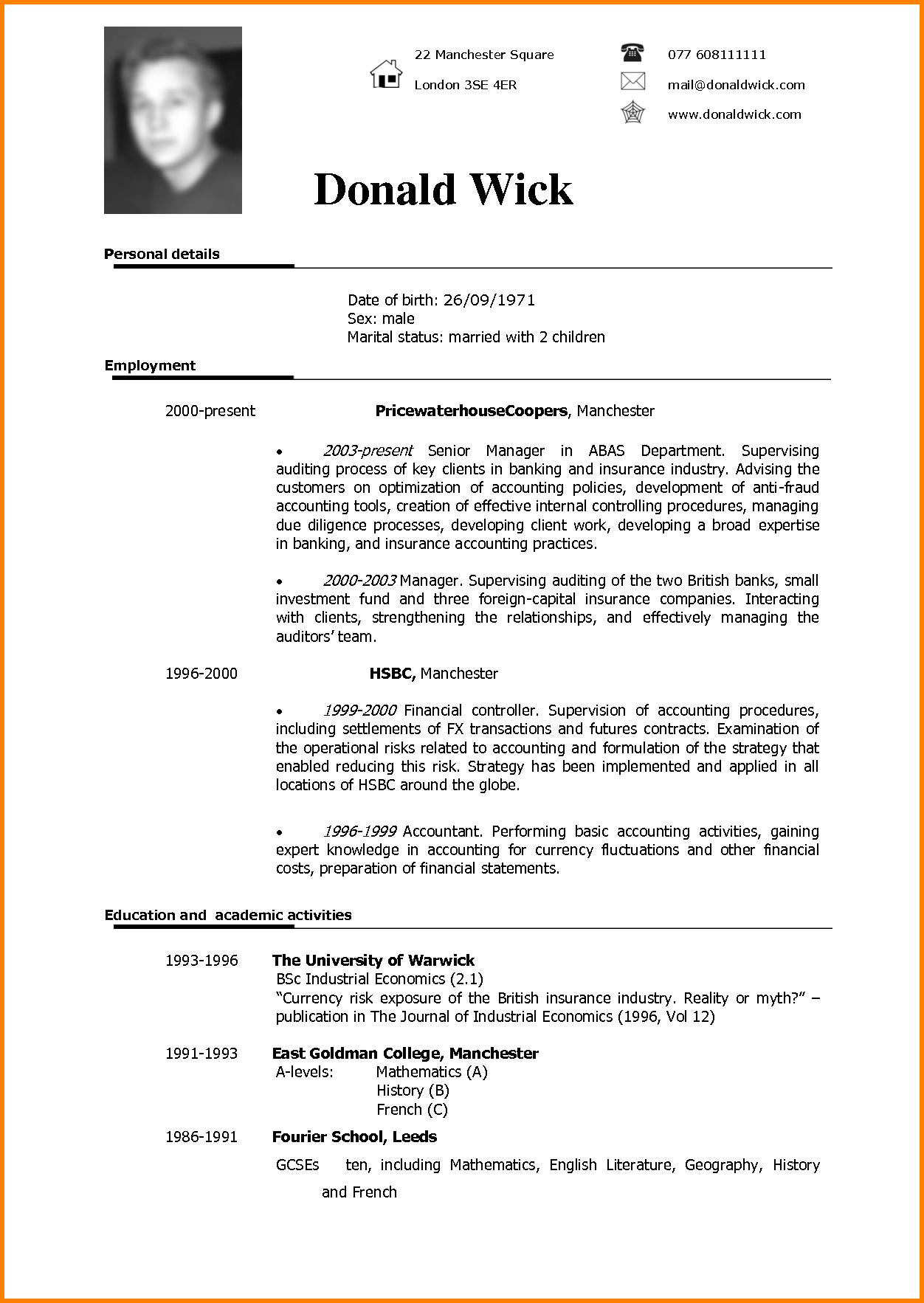 63 Nice English Cv Template by Design