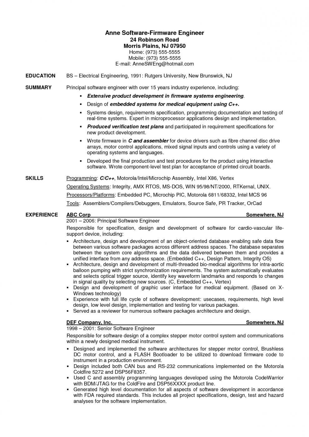 63 Stunning Entry Level Software Developer Resume Sample by Images